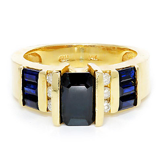 Tension Set Sapphire Cocktail Ring with Diamonds in 14kt Yellow Gold 2.20ctw