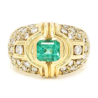 Vintage Emerald Ring with Diamonds in 14kt Yellow Gold 1.75ctw