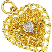 Vintage Heart Pendant with Heart Diamond in Solid 24kt Yellow Gold .25 Carat 1""
