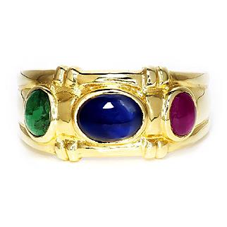 Vintage Bezel Set Precious Gemstone Ring with Ruby, Sapphire & Emerald 14K Gold 1.00ctw