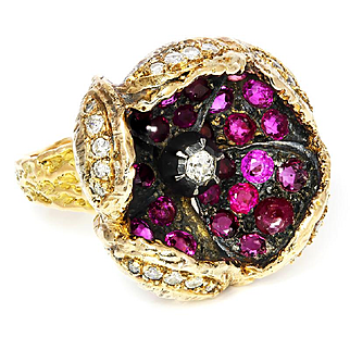 ON SALE Handmade Vintage Diamond Open Flower Petal Ring with Rubies 14K Gold 4.10ctw