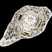 Vintage Old Mine Cut Diamond Engagement Ring 18K White Gold Open Filigree .15ctw