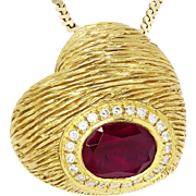 Heart Pendant Necklace with Diamonds and Rubellite Textured 18kt Gold 1.62ctw