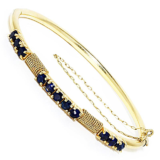 Vintage Sapphire Bangle with Rope Design in 14kt Yellow Gold 2.20ctw