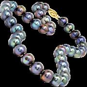 "Estate Black Tahitian Pearl Necklace Strand 10MM 17 3/4"" Princess"