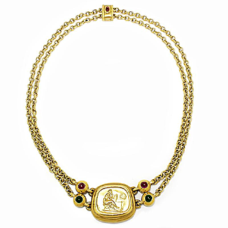 ON SALE Vintage Byzantine Roman Coin Necklace with Tourmaline's in 18kt Yellow Gold 1.00ctw