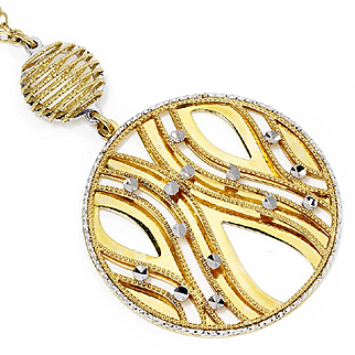 """Fancy Round Circle Drop Pendant Necklace in 14kt Two Tone Gold 18.5"""""""