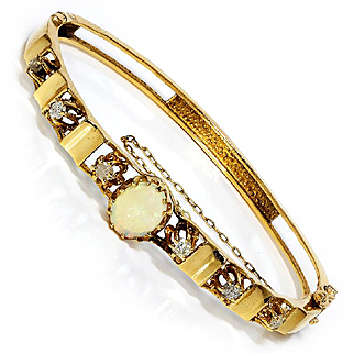 ON SALE Vintage Australian Opal Bangle with Diamonds in 14K Yellow Gold 1.60ctw