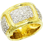 Torrini Daphne Cigar Band with Diamonds in 18kt Yellow Gold Italian Wide Ring 1.65ctw