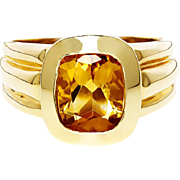 ON SALE Estate Citrine Solitaire Ring Bezel Set in 14kt Yellow Gold 2CT November Birthstone