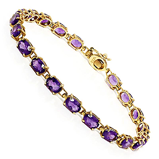 7.00ctw Oval Amethyst Gemstone Tennis Bracelet 14kt Yellow  Gold 7.25""