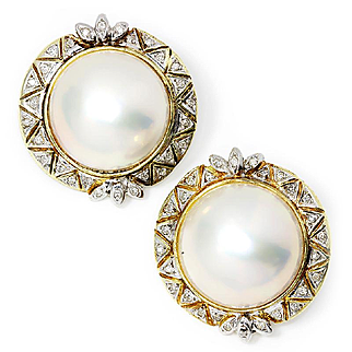 ON SALE Vintage Round Mabe Pearl Clip On Earrings with Single Cut Diamond's 14K Gold