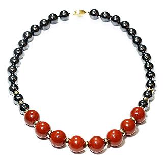 "Vintage Jasper & Hematite Bead Necklace in 14kt Yellow Gold 17"""