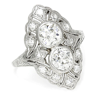 ON SALE Vintage Art Deco Double Diamond Filigree Ring with Accents in Platinum 2.50ctw