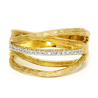 I. Reiss Twig Style Diamond Band in 14kt Yellow Gold .15ctw