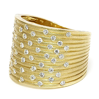 ON SALE Wide Diamond Cluster Band in 14kt Yellow Gold .56ctw Matte Finish