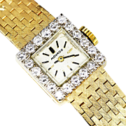 Vintage Ladies Movado Watch Manual Wind 1.00ctw Diamond 14kt Gold