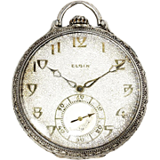 ON SALE Vintage Art Deco Elgin Corsican Model Pocket Watch 14kt Gold Grade 450 12s 21 Jewel