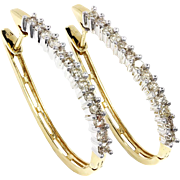 Oval Hoop Diamond Earrings in 14kt Two Tone Gold 1.50ctw Prong Set