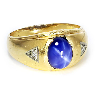 Vintage Men's Star Sapphire Ring with Diamonds in 14kt Yellow Gold 2.60ctw