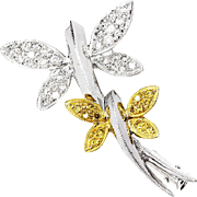 ON SALE Dragonfly Brooch Pin with White & Fancy Yellow Diamonds in 18kt Gold .21ctw