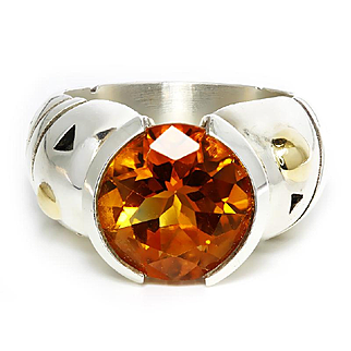 ON SALE Estate Citrine Solitaire Ring Sterling & 18kt Gold Accents 5CT November Birthstone