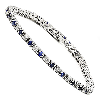 "Estate Sapphire Tennis Bracelet with Diamond's in 14kt White Gold 1.00ctw 7"""