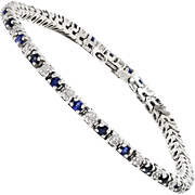 Estate Sapphire Tennis Bracelet with Diamond's in 14kt White Gold 1.00ctw 7""