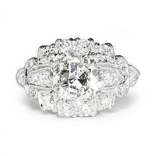 Vintage Art Deco European Diamond Engagement Ring with Accents Platinum 2.25ctw