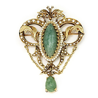 Art Nouveau Jade Pendant Brooch with Seed Pearls in 14kt Yellow Gold