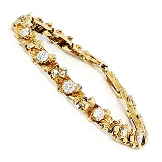 Vintage Round Diamond Nugget Bracelet in Solid 14kt Yellow Gold 1.80ctw