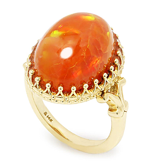 Estate Orange Opal Solitaire Ring in 14kt Yellow Gold 8 Carat Oval