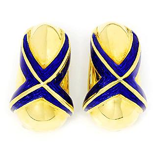 Mavito Blue Enamel 18kt Yellow Gold X Earrings French Clip