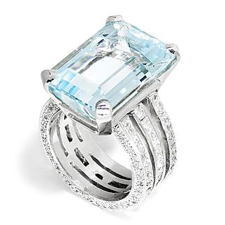 Large Aquamarine Triple Eternity Band Ring with Diamonds in Platinum 16.65ctw