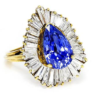 Vintage Ceylon Sapphire Ballerina Ring with Diamonds in 18kt Yellow Gold 7.00ctw