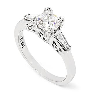 Vintage Old Cushion Diamond 3-Stone Engagement Ring in Platinum 1.15ctw