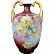 """Limoges H.P. 13 ½"""" Muscle Vase w/ Yellow Roses- artist signed"""