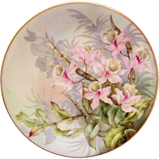 """Limoges H.P. 8 1/2"""" Plate- Pink Orchids with Pastel Background- artist signed """"Metzerott"""""""