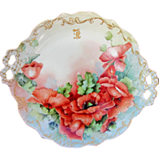 "Limoges H.P. 11 ½"" Open Handled Cake Plate w/ Orange Poppies - Red Tag Sale Item"