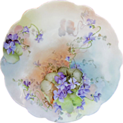 "Limoges H.P. 8 1/2"" Plate with Violets"