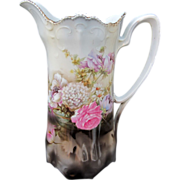 "R.S. Germany 10"" Scalloped Rim Tankard W/Floral Arrangement in Water"