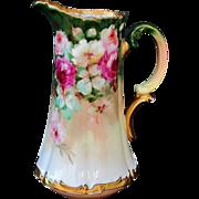 "Limoges H.P. Tankard w/ Rose Cluster  by Pickard artist ""LOBA"""
