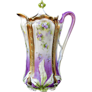R.S. Prussia Leaf Mold Chocolate Pot- Lavender & Gold w/Forget-Me-Nots - Red Tag Sale Item