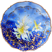 """R.S. Prussia 10 ½"""" Cobalt Blue Bowl w/Yellow Daffodils & Gold"""