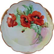 "Pickard H.P. 8 ½"" Plate w/Poppies- artist signed ""F. James"""