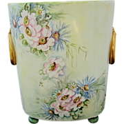 "Limoges France Hand Painted 10 ½"" Cache Pot w/Daisy & Wild Flowers"