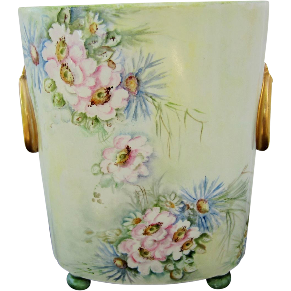 limoges france hand painted 10 cache pot w daisy wild flowers from hjrantiques on ruby lane. Black Bedroom Furniture Sets. Home Design Ideas