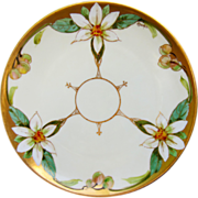 "Julius H. Brauer Studio 8 ¼"" H.P. Cake Plate w/Orange Blossoms by Pickard artist Arnold Rhodes"