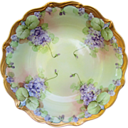 """Pickard H.P. 10 ½"""" Bowl w/ Violets- signed """"Reury"""""""