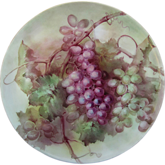 """T&V Limoges H.P. 13 ½"""" Plaque w/Red & Green Grape Clusters"""